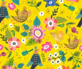 Yellow bright spring floral pattern vector