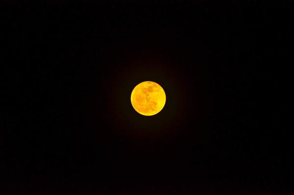 Yellow round moon in dark sky Stock Photo