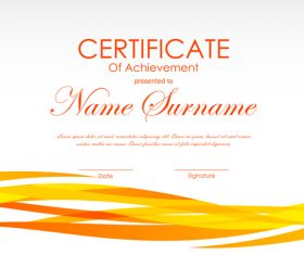 Yellow styles certificate template vector 02