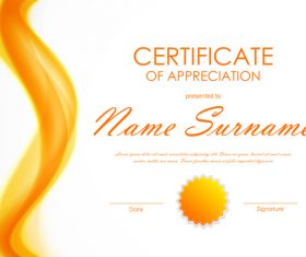 Yellow styles certificate template vector 03