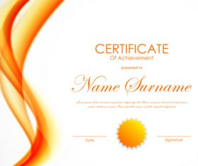 Yellow styles certificate template vector 04
