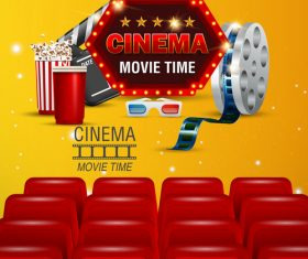 Yellow with red cinema poster template vectors