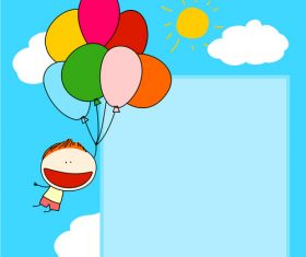 boy balloons card cartoon vector