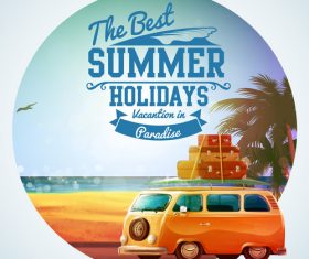 bus wiht summer travel vintage vector