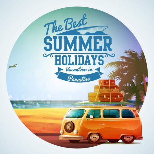 bus wiht summer travel vintage vector