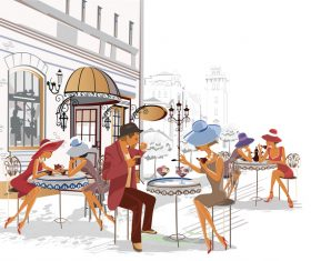 cafe side street vector