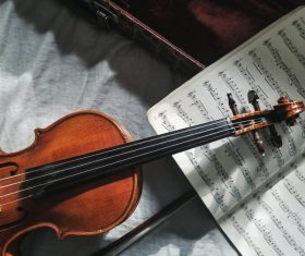 classical violin instrument and music notebook Stock Photo