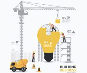 construction infographic template vector 06