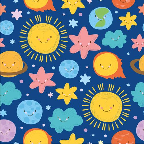 cute set solar system pattern blue vector