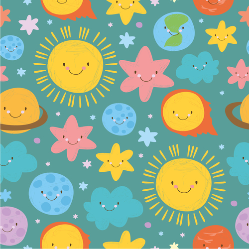 cute set solar system pattern turquoise vector