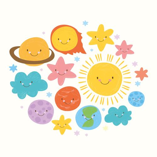 cute set solar system vector