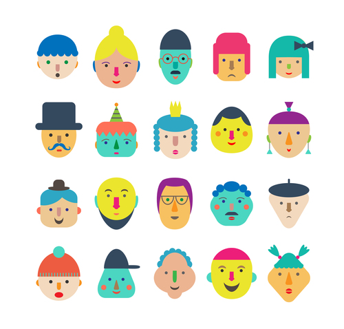 faces icon vector design 01