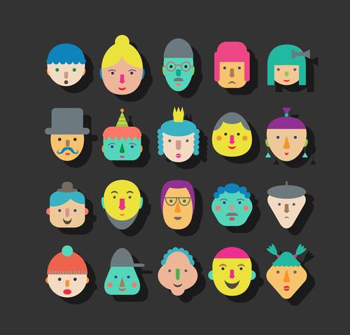 faces icon vector design 02