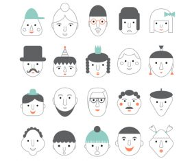 faces icon vector design 03