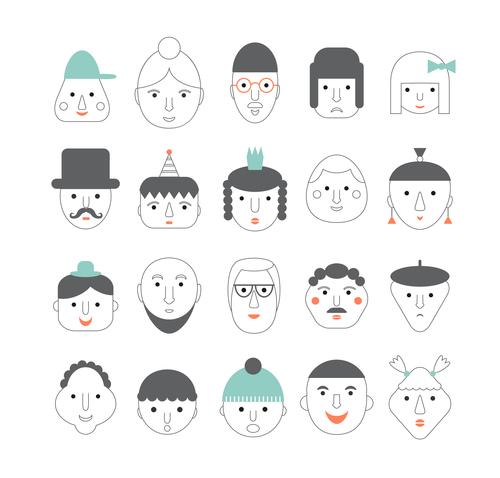 faces icon vector design 03