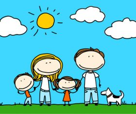 family sketch hand drawn cartoon vector 02