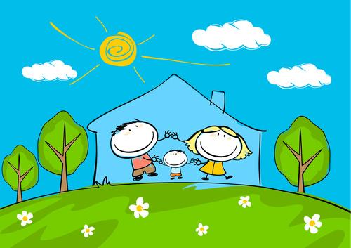 family sketch hand drawn cartoon vector 03