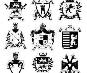 heraldry symbols design vector 03