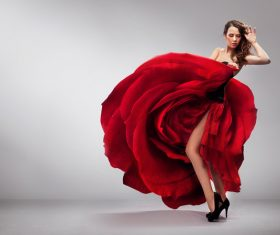 lady wearing red rose dress Stock Photo 03