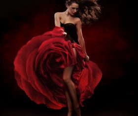 lady wearing red rose dress Stock Photo 04