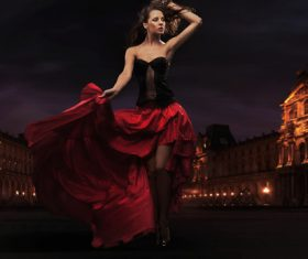lady wearing red rose dress Stock Photo 05