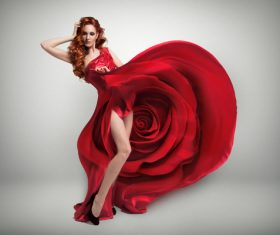 lady wearing red rose dress Stock Photo 06