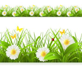 ladybug with grass and and white flower vector 02