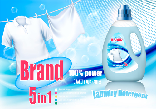 laundry detergent ad poster template vector 03