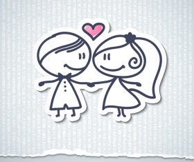 lovers sticker with papaer background vector