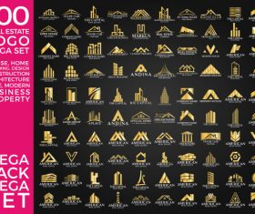 100 Real Estate Logo Gold Mega Set vector