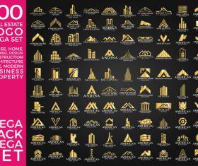 100 Real Estate Logo Gold Mega Set vector