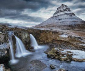 rocky waterfall mountain scenery Stock Photo