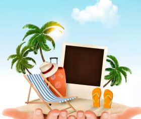 travel background with palm and hands vector