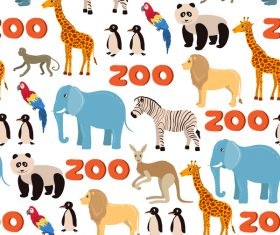 zoo with funny animals seamless pattern vector