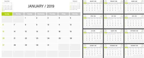 2019 calender blank template vector 01