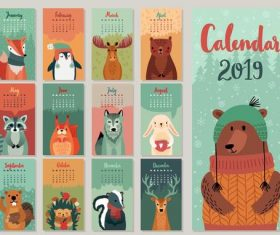 2019 calender with cartoon animal vector