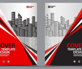 2019 company brochure cover red style vector