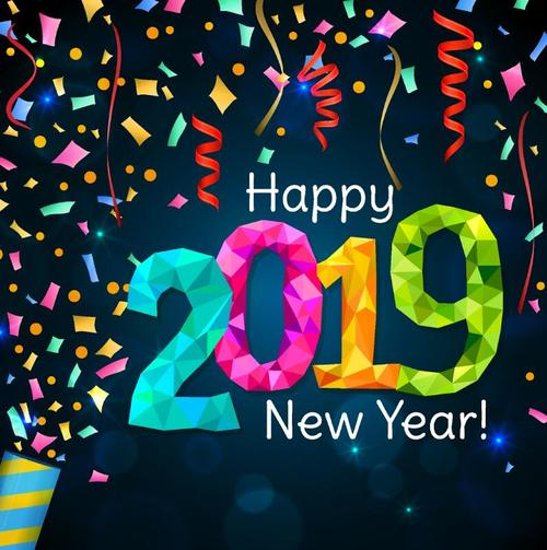 2019 new year background with confetti vector