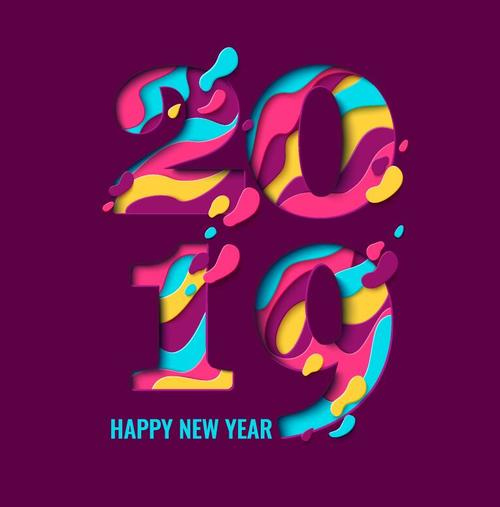 2019 new year text design with purple background vector