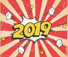 2019 vintage cartoon design vector