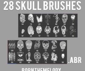 28 Kind Skull Photoshop Brushes
