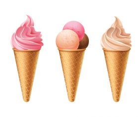 3 Kind Ice Cream Cones vector