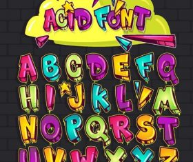 3D acid font alphabet vector