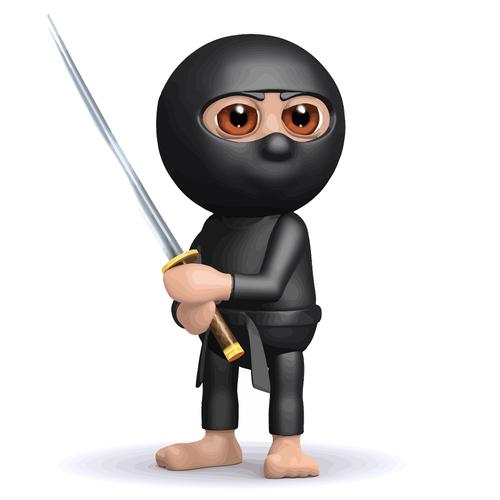 3d kid ninja stance cartoon vector