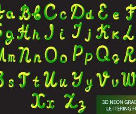 3d neon gradient lettering alphabet vector