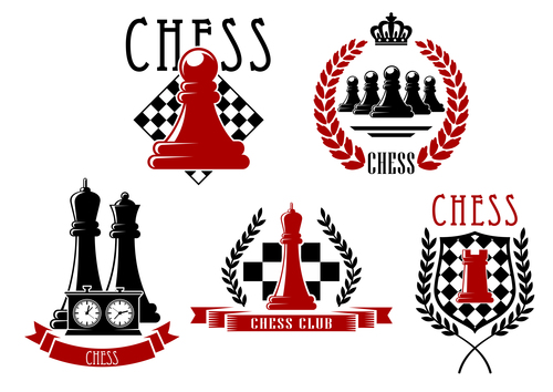 5 Kind chess labels vector