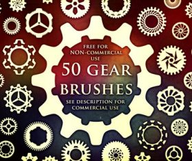 50 Kind Gear Photoshop Brushes