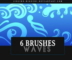 6 Kind waves Photoshop Brushes
