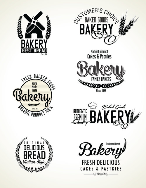 7 Kind bakery labels with logos vector