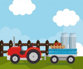 Agriculture with farm design vector material 01